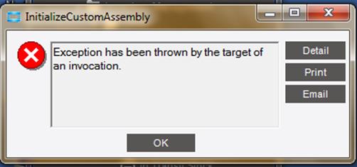 Initialize Custom Assembly Error - ERP 10 - Epicor User Help