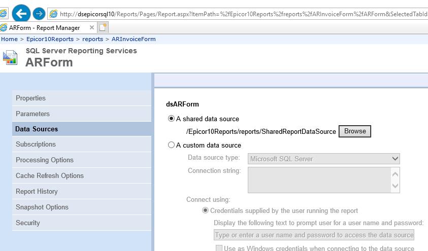 Mass Change of SSRS Data Source - ERP 10 - Epicor User Help