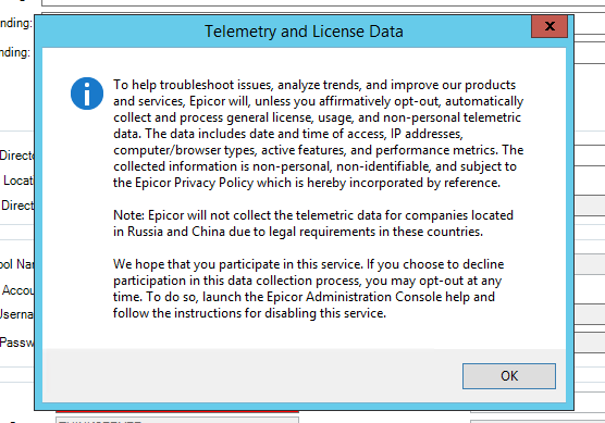 E10.2.100.x - Telemetry - Collects Data and Sends to Epicor