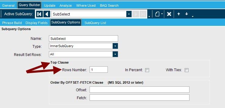 E10 BAQ subquery to get last job? - ERP 10 - Epicor User