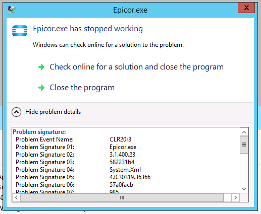 Epicor exe crashing for just one user - ERP 10 - Epicor User Help Forum