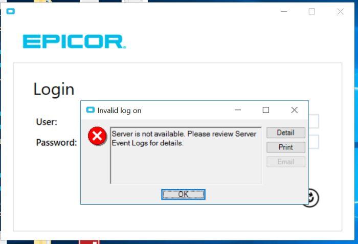 Epicor Apllication error